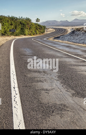Winding road through the desert - Stock Photo