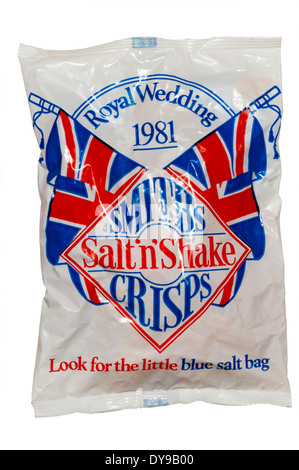 A souvenir packet of commemorative Royal Wedding crisps sold to celebrate the wedding of Prince Charles and Lady - Stock Photo