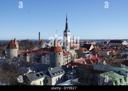 Aerial view: The old town of the medieval city of Tallinn, capital of Estonia, Europe - Stock Photo