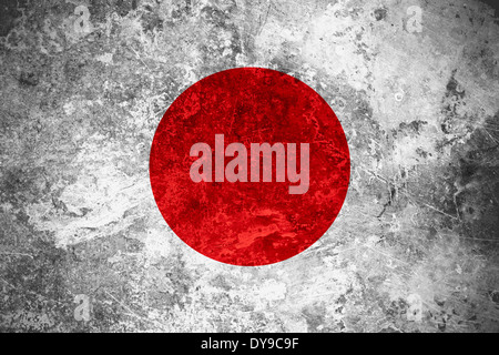 flag of Japan or Japanese banner on vintage metal texture - Stock Photo