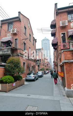 traditional Shanghainese architectural style area - Shikumen - combine of Western and Chinese elements, Shanghai, - Stock Photo