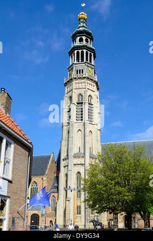Lange Jan tower of Niewe Kerk, abbey, in Middelburg, Zeeland, Holland - Stock Photo