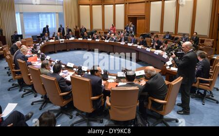 Washington, DC, USA. 10th Apr, 2014. The Finance Ministers and Central Bank Governors Meeting of the BRICS (Brazil, - Stock Photo
