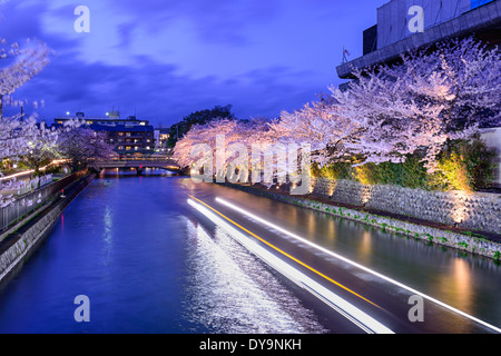 Kyoto, Japan on the Okazaki Canal during the spring cherry blossom season. - Stock Photo