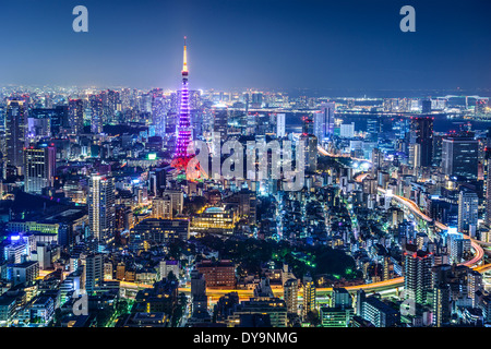 Tokyo, Japan city skyline with Tokyo Tower 'Diamond Veil' lighting. - Stock Photo