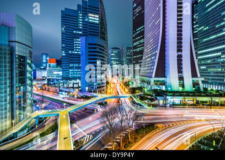 Tokyo, Japan office buildings in Shinjuku. - Stock Photo
