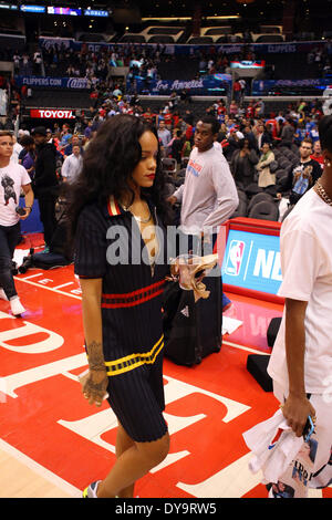 Los Angeles, California, USA. 09th Apr, 2013. Singer Rihanna attends the NBA Basketball game between the Oklahoma - Stock Photo