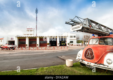 old fire engine outside the fire station in Lagos Portugal - Stock Photo