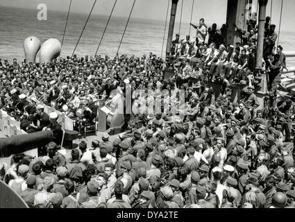 WW II historical war world war second world war operation Overlord Overlord invasion concert jazz swing deck US - Stock Photo