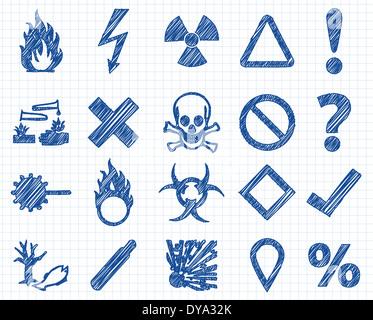Danger, warning sign Doodle illustration collection on excersize book paper. - Stock Photo