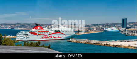 Ferry entering harbour Grand port maritime town village water summer sea ships boat Marseilles Bouches du Rhone - Stock Photo