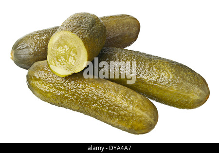 Pickled cucumbers Isolated on white - Stock Photo