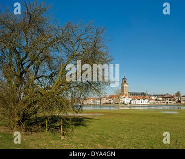 Netherlands, Holland, Europe, Deventer, Overijssel, city, village, water, winter, Lebuinus, church, river, IJssel - Stock Photo