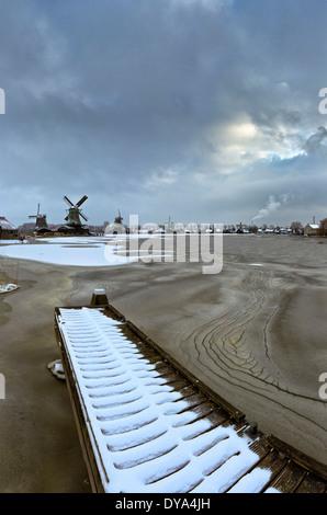 Netherlands, Holland, Europe, Zaandam, North Holland, windmill, water, winter, snow, ice, Open-air, museum, Zaanse - Stock Photo