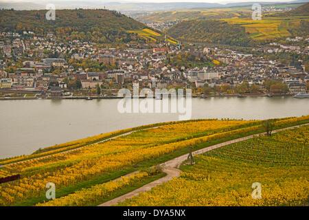 Bingen Germany Europe Hessen Rhine Valley vineyards panorama Palatinate Rhinegau Rhineland Rüdesheim UNESCO world - Stock Photo