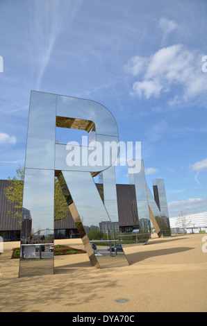 Mirrored letters spelling out RUN at the Copper Box arena in the Queen Elizabeth Olympic Park, Stratford, London. - Stock Photo