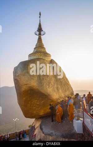 Kyaiktiyo Rock Golden Rock Kyaikto Mon Myanmar Burma Asia balanced Buddha Buddhism famous gold golden popular religion - Stock Photo