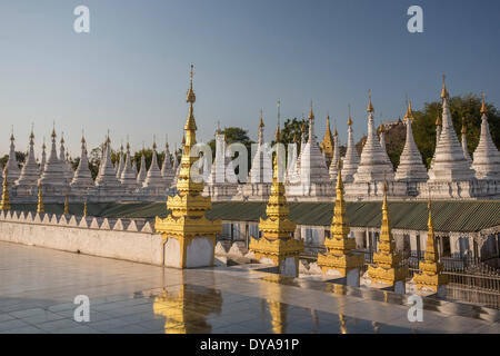 Mandalay Myanmar Burma Kuthodaw Pagoda Asia architecture colourful many religion skyline stupas tourism touristic - Stock Photo
