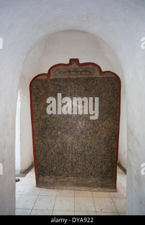 Kuthodaw Pagoda, Mandalay City, Myanmar, Burma, Asia, big, biggest book, history, page, stone, stupa, writing, inscription, - Stock Photo