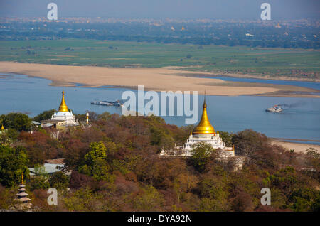Mandalay Myanmar Burma Asia Sagaing architecture colourful hill pagoda golden religion river stupa tourism touristic - Stock Photo