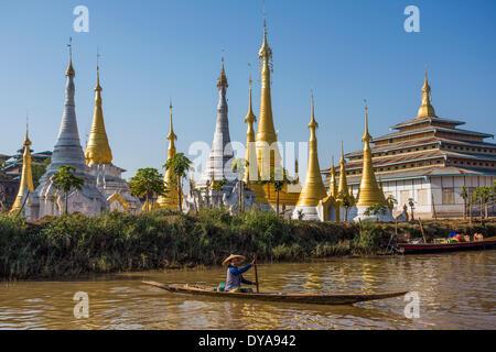Inle, Iwama, City, Myanmar, Burma, Asia, boat, canal, colourful, floating market, lake, skyline, stupas, touristic, - Stock Photo
