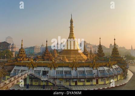 Myanmar Burma Asia Yangon Rangoon Sule architecture city colourful downtown pagoda golden religion skyline tourism - Stock Photo