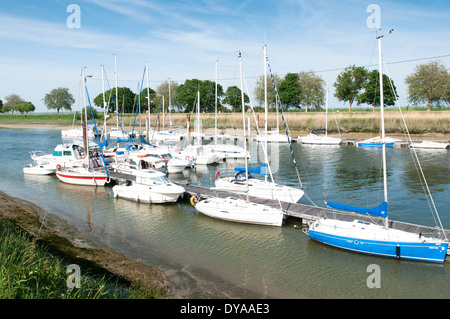France, Picardy, Saint Valery-sur-Somme. Yachts moored on the river Somme. - Stock Photo