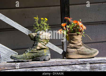 Two old boots used  as quaint and unusual flowerpots. Upcycling, Upcycled, Upcycle or Recycle in garden. - Stock Photo