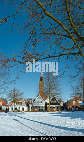 Netherlands, Holland, Europe, Edam, North Holland, city, village, forest, wood, trees, winter, snow, ice, Church, - Stock Photo