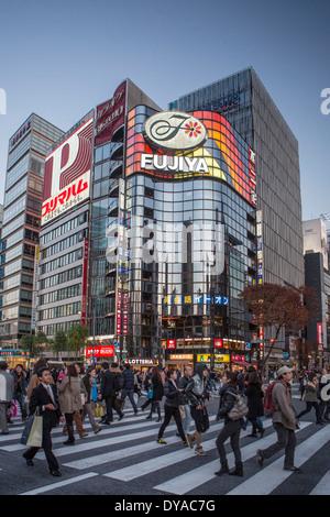 Japan, Asia, Tokyo, City, Harumi Dori, crossing, district, landmark, Ginza, lights, pedestrians, shopping, evening, - Stock Photo