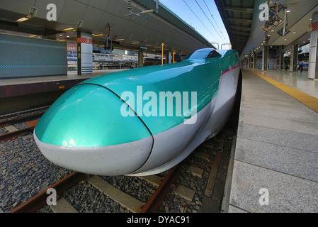 Japan, Asia, Tokyo, Hayabusa, bullet, Bullet train, high speed, city, design, fast, futuristic, green, new, station, - Stock Photo