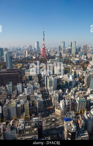 Japan, Asia, Tokyo, City, Daimon, Minato Ku, architecture, city, crossing, skyline, tower, travel, urban - Stock Photo