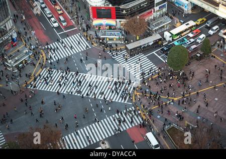 Japan, Asia, Tokyo, City, Hachiko, Shibuya, city, crossing, crowd, pedestrian, station, west side, traffic - Stock Photo