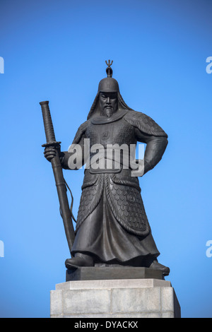 Korea, Asia, Seoul, admiral, Yi Sun Shin, architecture, bronze, city, history, statue, touristic, travel - Stock Photo