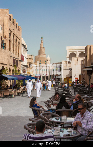 Doha Islamic Culture Qatar Middle East Souk Wakif architecture cafe center city market old pedestrian people terrace - Stock Photo
