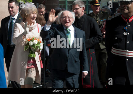 Coventry, West Midlands, England, UK. 11th April 2014. Irish President Michael D. Higgins arrives at the Cathedral - Stock Photo