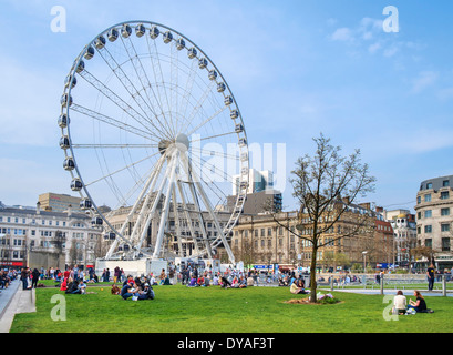 The Wheel of Manchester, Piccadilly Gardens, Manchester, England, UK - Stock Photo