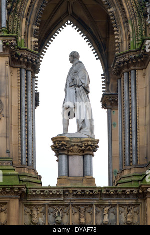 Statue of Prince Albert in front of the Town Hall in Albert Square, Manchester, England, UK - Stock Photo