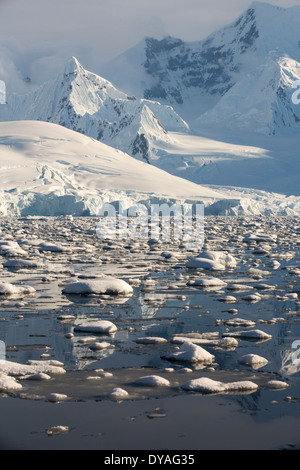 Mountains from the Gerlache Strait separating the Palmer Archipelago from the Antarctic Peninsular - Stock Photo
