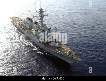 US Navy guided missile destroyer USS Ramage steams through the Mediterranean Sea April 9, 2014. - Stock Photo