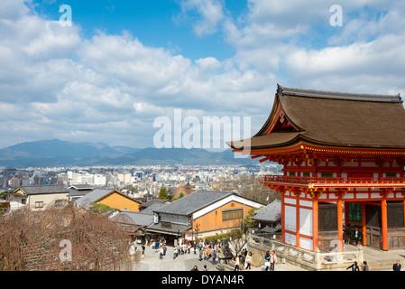 View of Kiyomizu Temple and Kyoto skyline. - Stock Photo