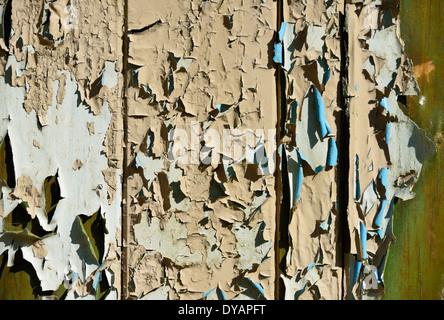 Peeling paint on wooden door. Brown, cream, blue, green. - Stock Photo