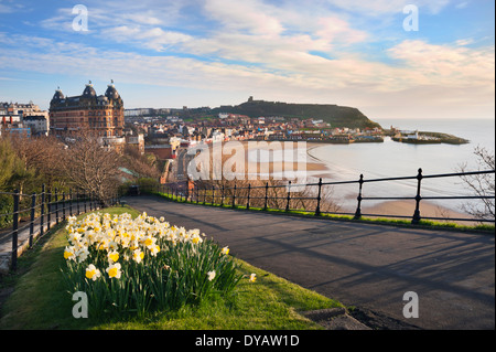 Early morning in Spring over North Bay, showing The Grand Hotel and the Castle, Scarborough, North Yorkshire, UK - Stock Photo