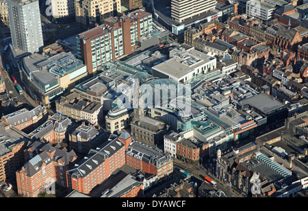 aerial view of Leeds Trinity shopping centre in Leeds, West Yorkshire - Stock Photo