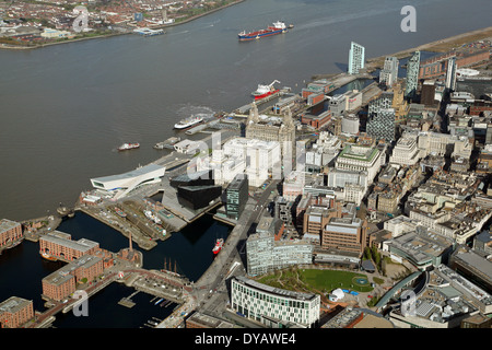 aerial view of Liverpool waterfront development area with the Liver Building and the River Mersey - Stock Photo