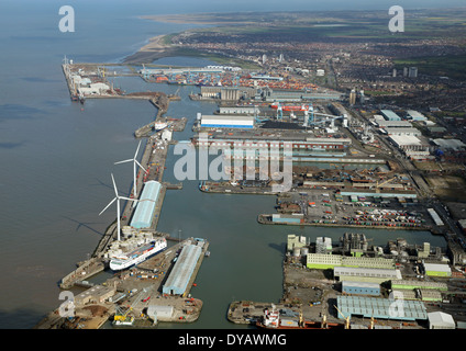 aerial view of Liverpool docks at Seaforth, just to the north of the city - Stock Photo