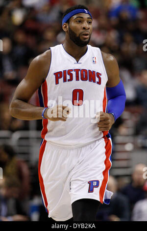 March 29, 2014: Detroit Pistons center Andre Drummond (0) in action during the NBA game between the Detroit Pistons - Stock Photo