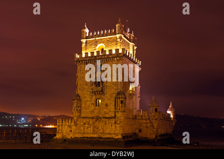 Tower from Belem at night in Lisbon Portugal - Stock Photo