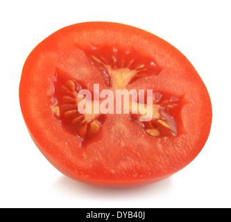Tomato slice isolated on white - Stock Photo