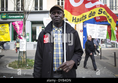 Paris, France. 12th Apr, 2014. Protesters take part in a demonstration against austerity on April 12, 2014 in Paris. - Stock Photo